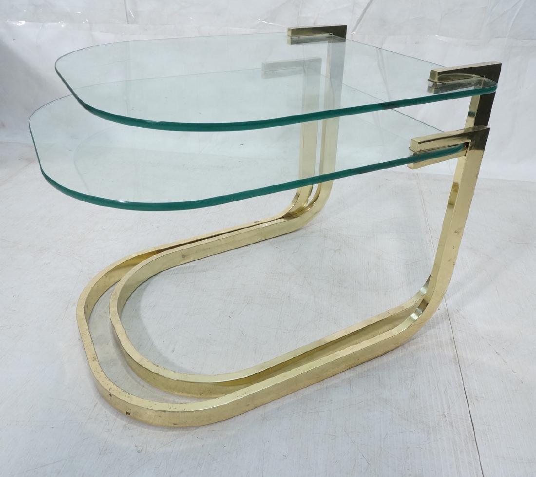 Set 2 DIA Glass & Brass Tube Nesting Tables. DESI