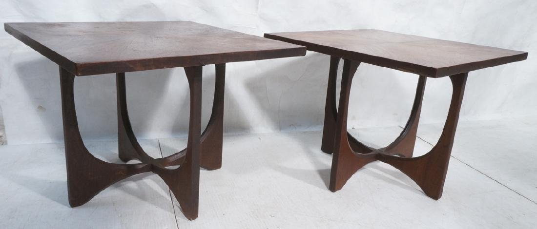 Pr American Modern Walnut Side Tables. Square top