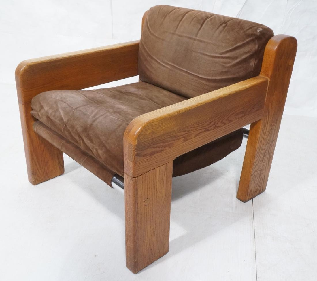 MARTIN RUDICK Oak Frame Brown Suede Lounge Chair.