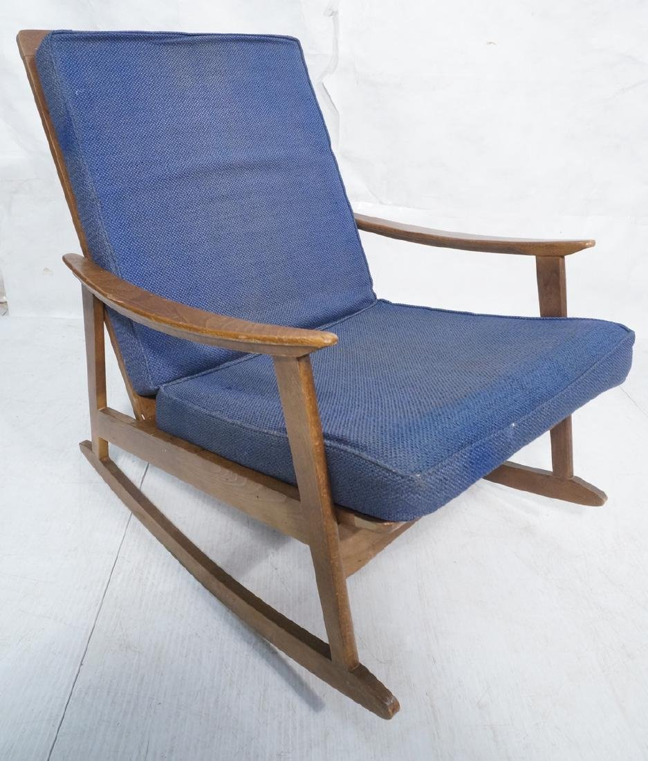 Modernist Wood Rocking Chair Blue Upholstery