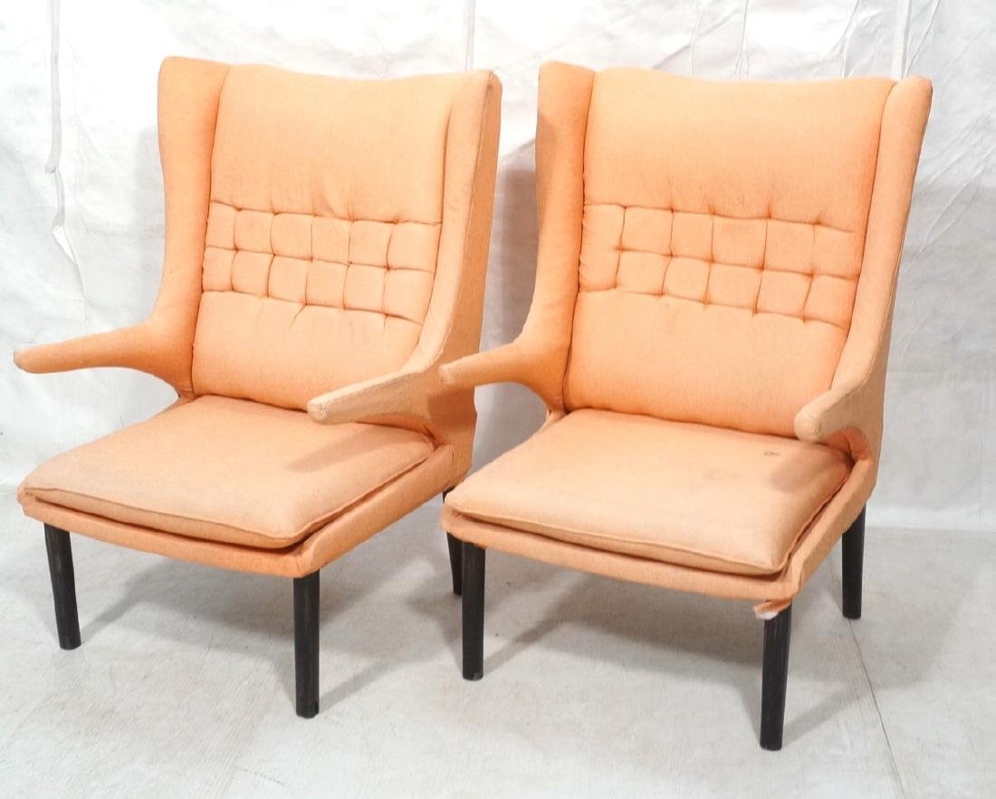 Pr Tall Flare Back Orange Modernist Lounge Chairs