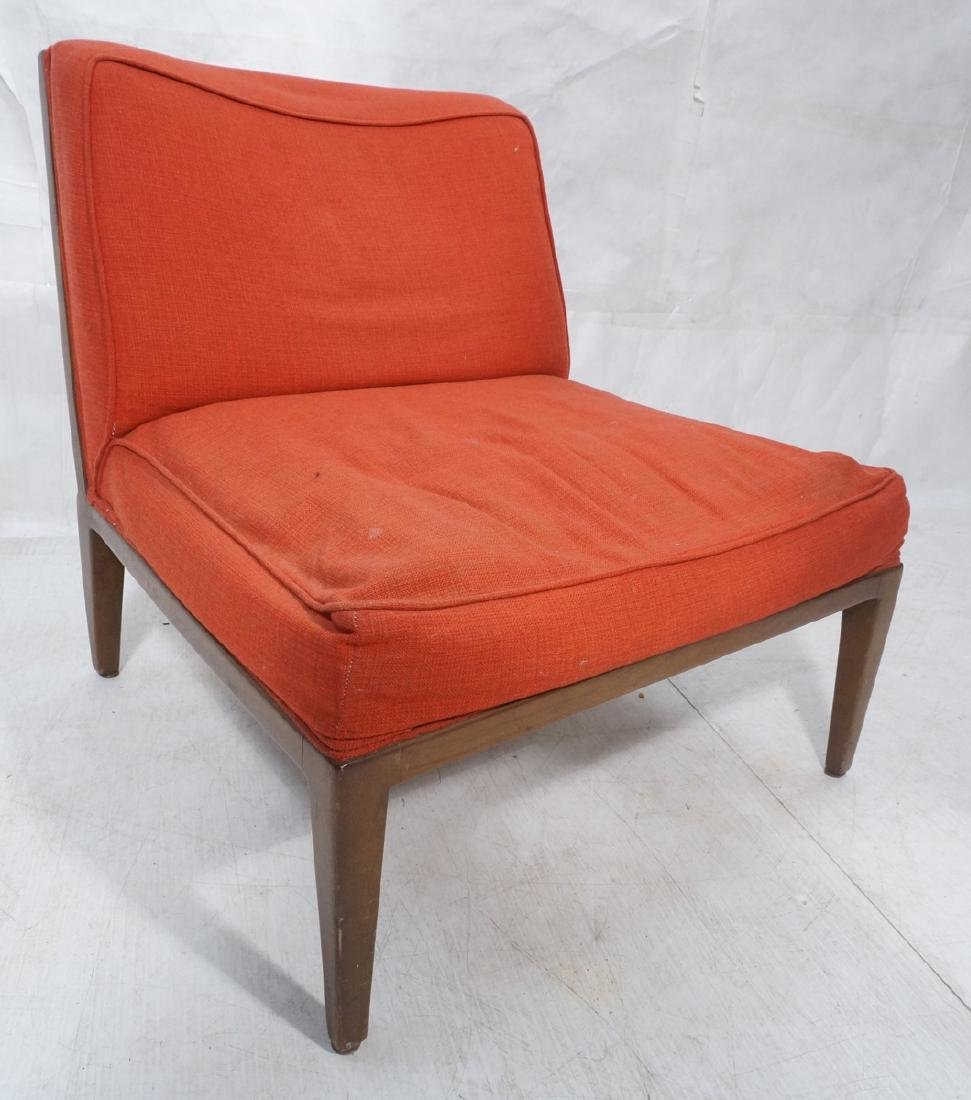 Modern Walnut Slipper Chair Red Upholstery. Woven