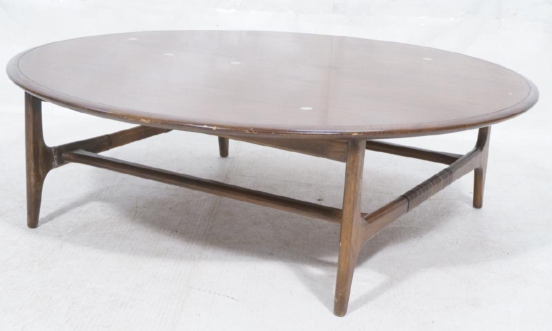 LANE Round Walnut Cocktail Table. Special top inl