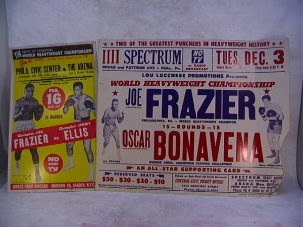 1081: 2 Vintage Joe Frazier Boxing Advertising Posters.