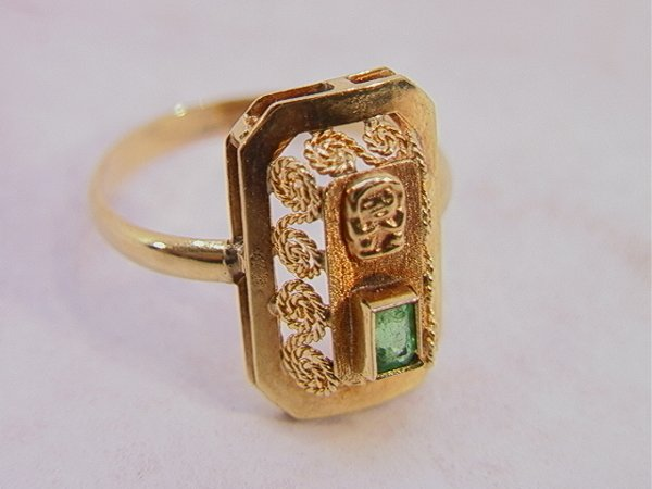 101: 18K Gold Ring with Emerald.  Filigree setting.  Si