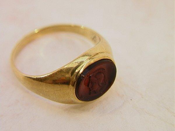 105: 10K Gold Carved Intaglio Ring.  Size 7   Dimension