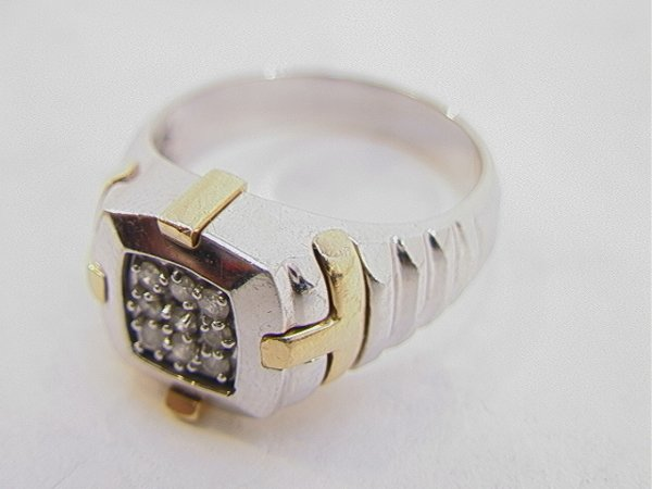 108: 14K Gold Mans Diamond Ring 9 Diamonds.  White and