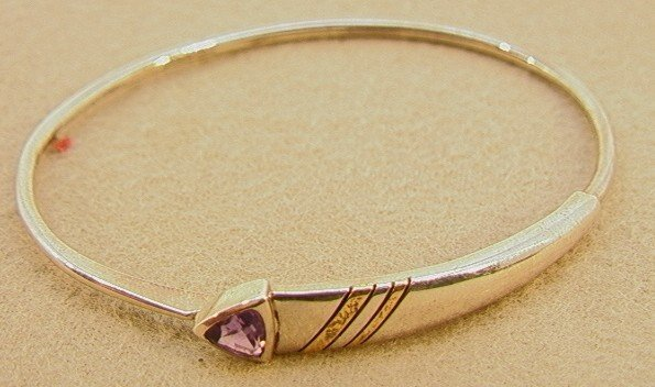 112: Cartier 18K and Sterling Amethyst Bracelet with Bo