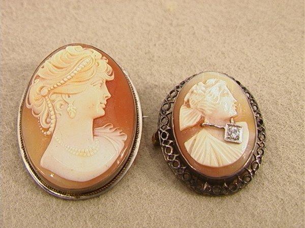 113: 2pcs Silver Framed Shell Cameo Pin Pendants.  One