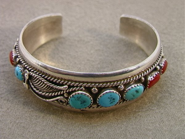 118: Sterling Silver American Indian Bracelet with Turq