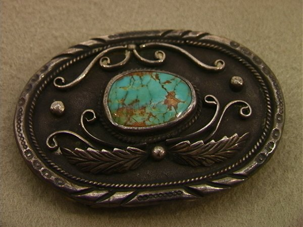 120: American Indian Silver Turquoise Belt Buckle. K in