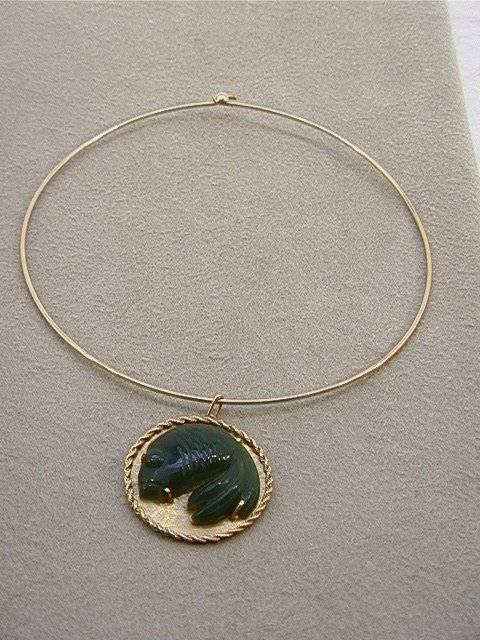 123: 14K Gold Carved Jade Fish Pendant. Necklace wire i