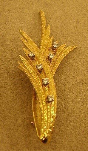 156: 18K Gold Leaf Pin with 6 Diamonds.  Satin Finish.
