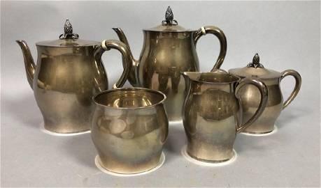 5pc PAUL REVERE Sterling Silver Tea Coffee Set. P