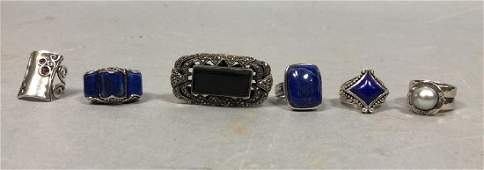 Lot of 6 pc Sterling Silver Stone Ladies Rings I