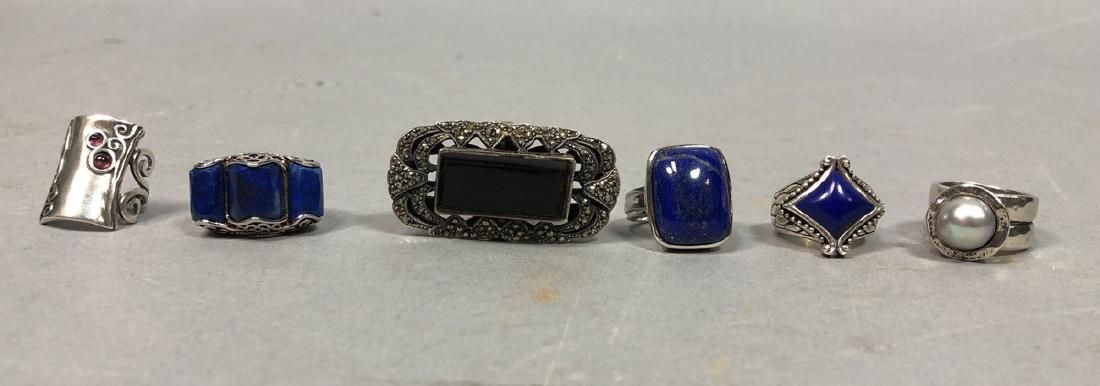 Lot of 6 pc Sterling Silver Stone Ladies Rings. I