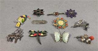 11 pc Sterling Silver Figural Pin Jewelry Lot. St