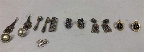 8pc Silver & Sterling Jewelry Lot. 6 pair earring