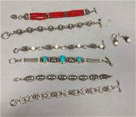 7pc Sterling Silver Designer Jewelry Lot Decorat