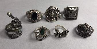 7 Sterling & Silver Rings, Mostly Figural. Lion h