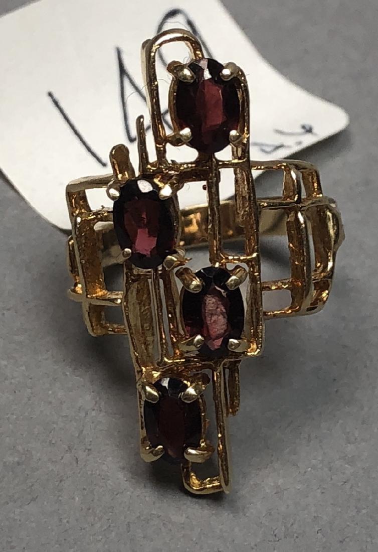 Modernist 14K Yellow Gold Garnet Ring. Brutalist Size 7