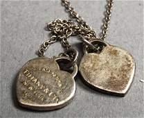 TIFFANY  CO Sterling Silver Necklace 2 Heart Pen