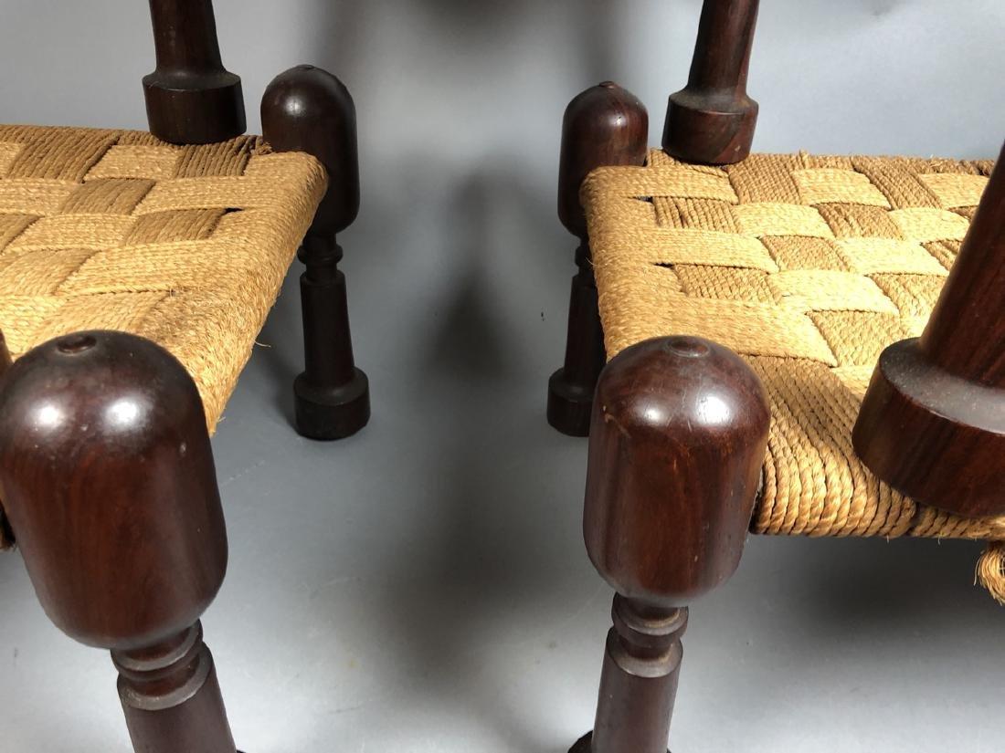 Set 3 Designer Nesting Stools Woven Rush Top. Foo - 8