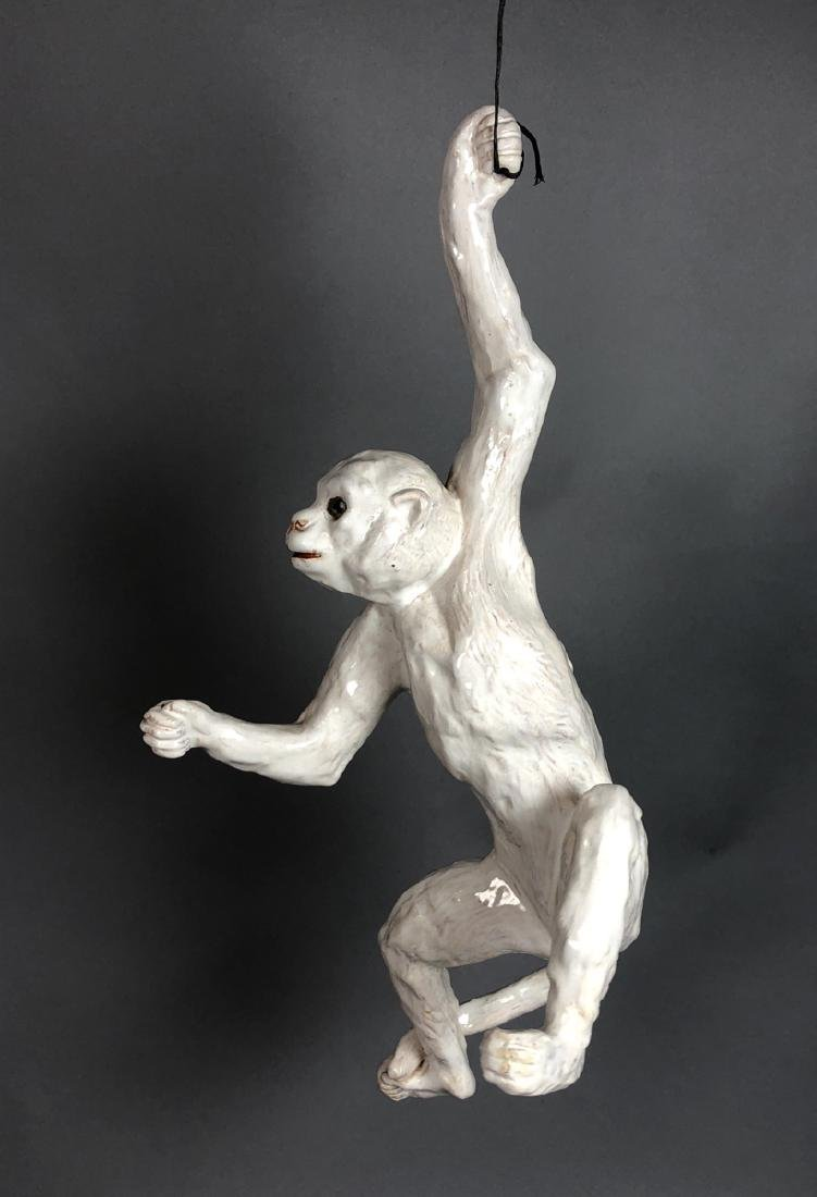 Glazed French Figural Monkey Sculpture. Glass Eye - 2