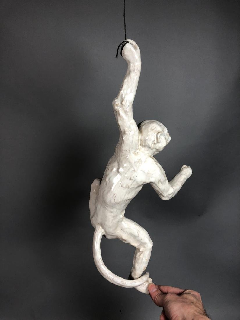 Glazed French Figural Monkey Sculpture. Glass Eye - 4