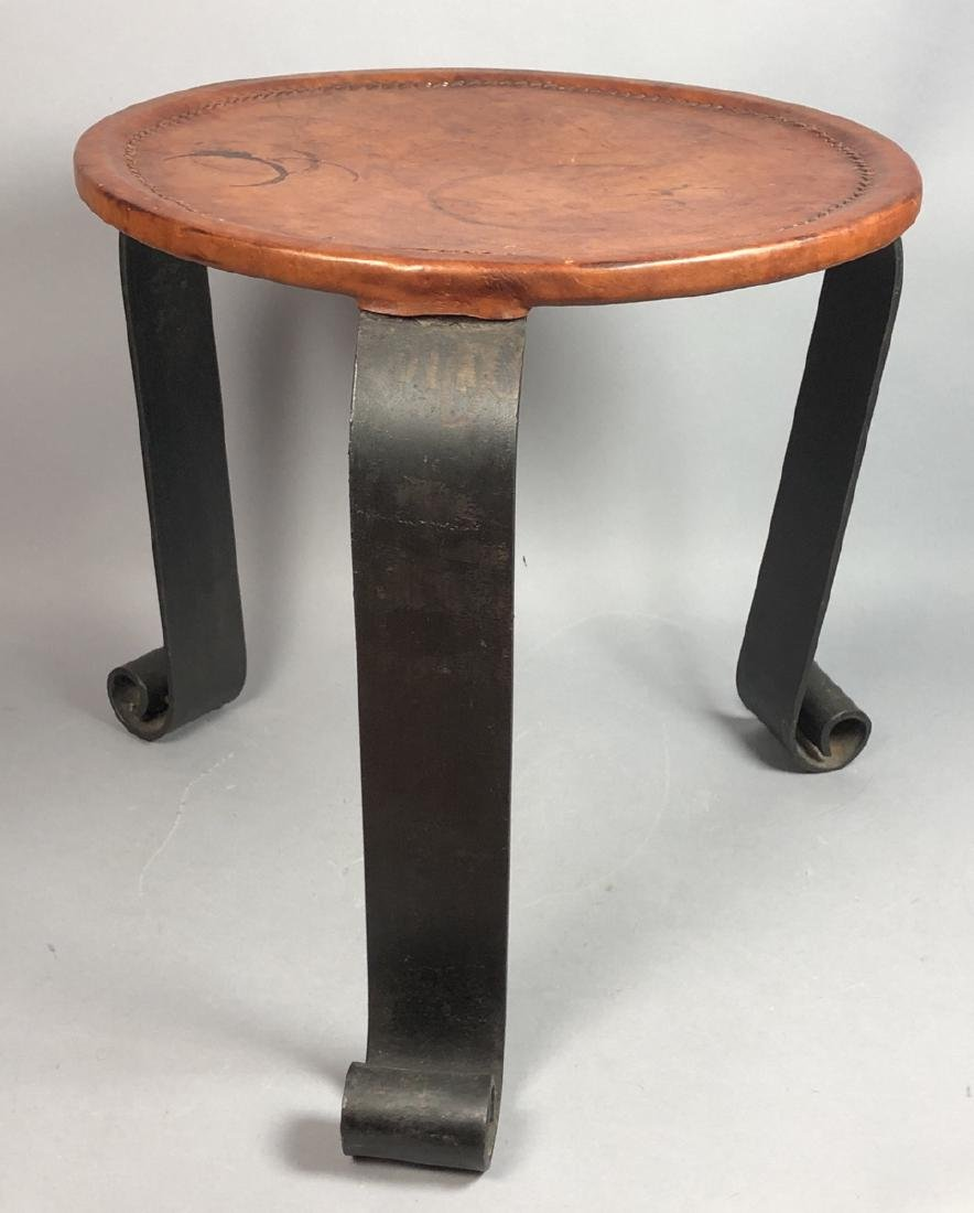 Round Heavy Iron Leather Top Modern Side Table. 3