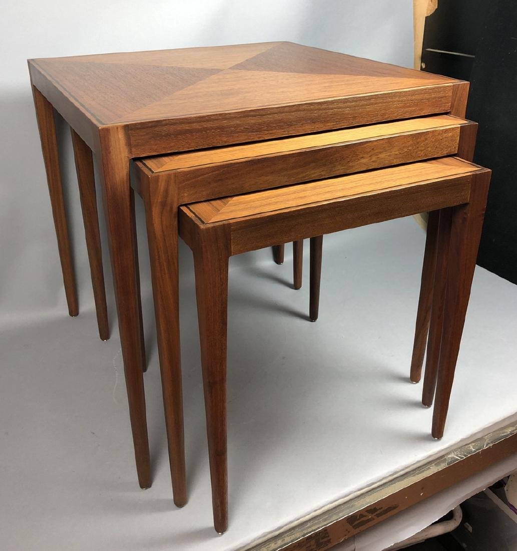 3pc DIRECTIONAL Amer Modern Walnut Nesting Tables