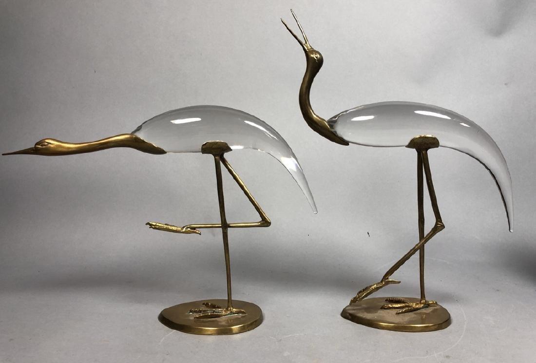 Pr Crystal & Glass Modern Figural Bird Sculptures