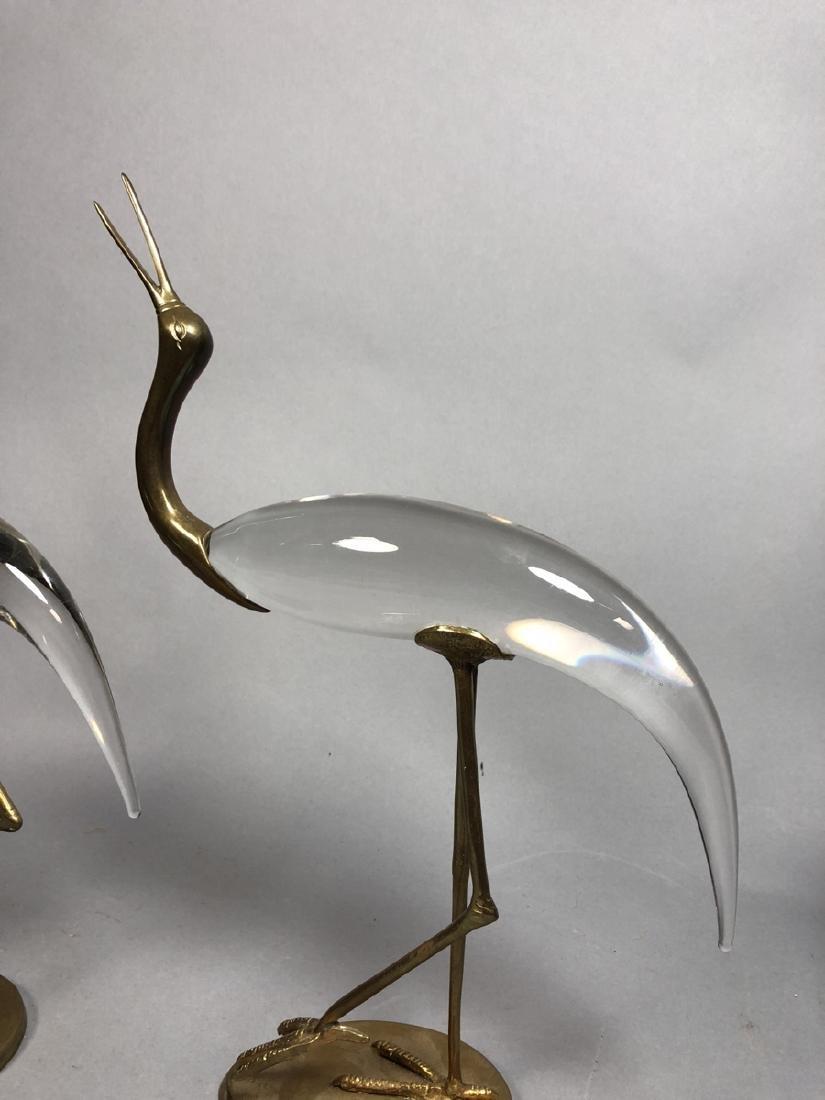 Pr Crystal & Glass Modern Figural Bird Sculptures - 5