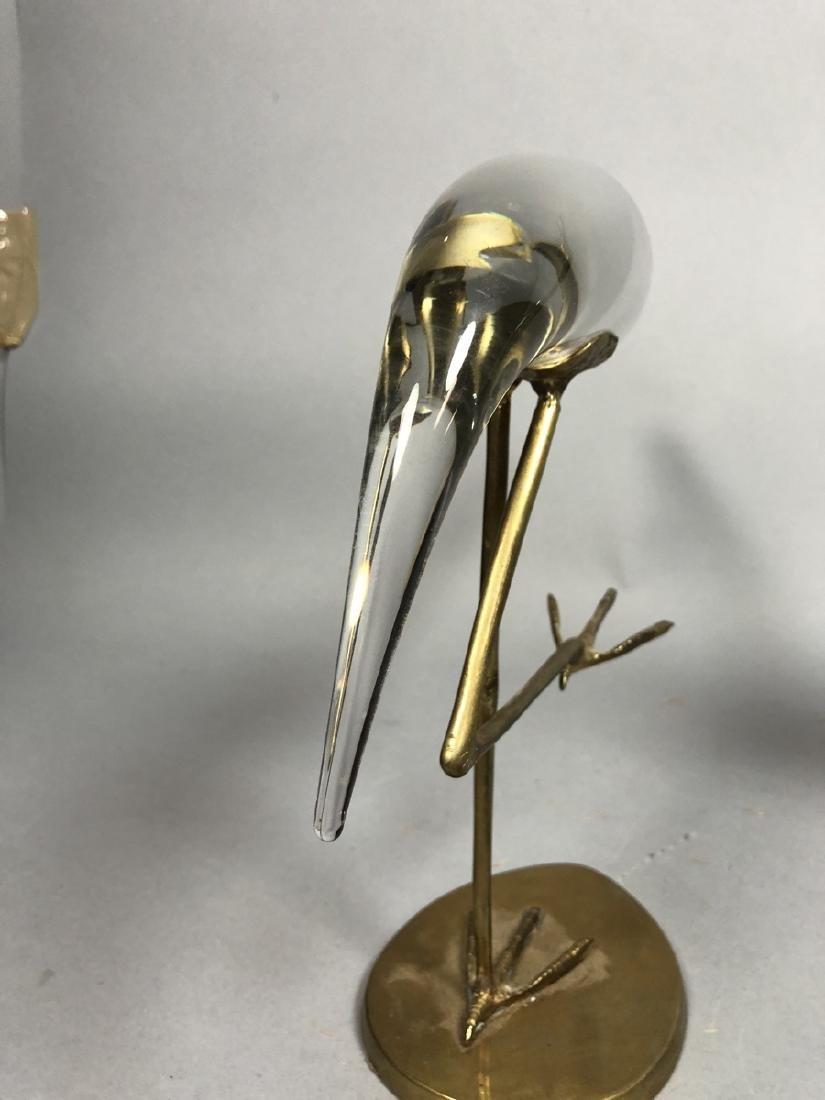 Pr Crystal & Glass Modern Figural Bird Sculptures - 6