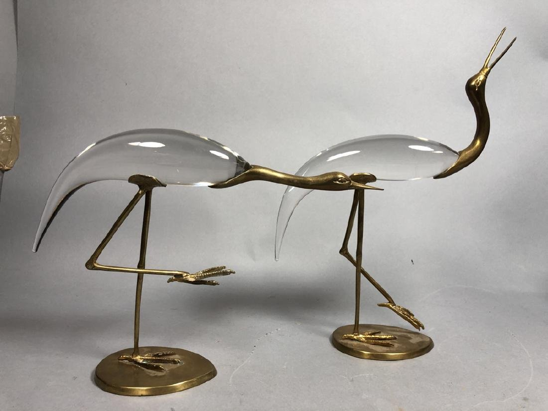 Pr Crystal & Glass Modern Figural Bird Sculptures - 7