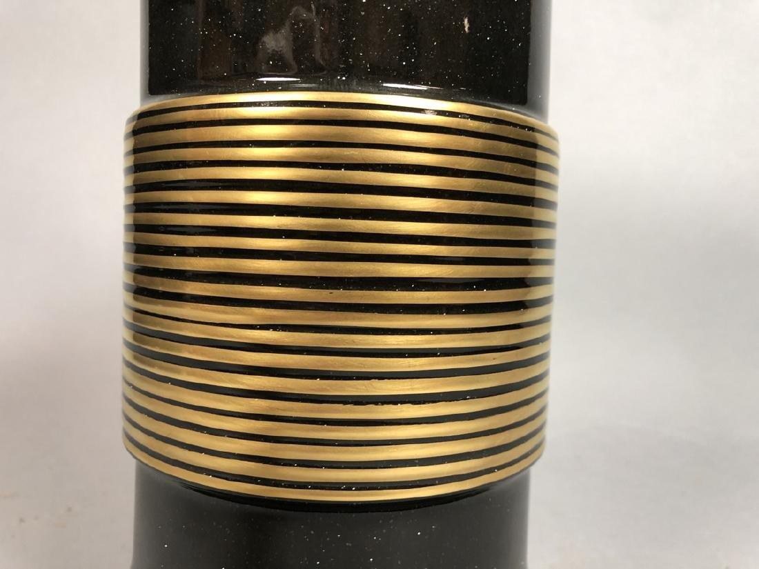 JACQUES MOLIN for LORIN MARSH Ceramic Vase. Black - 4