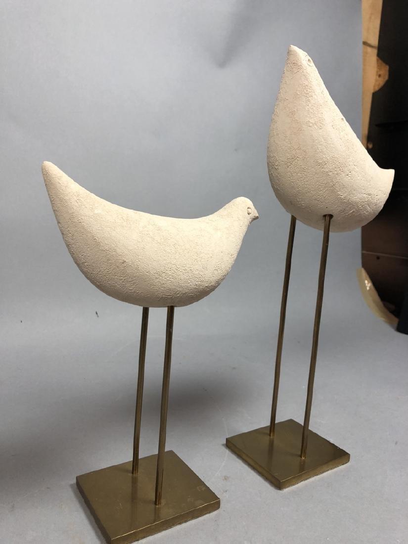 Pr Pottery Bird Sculptures on Modern Brass Stands - 2