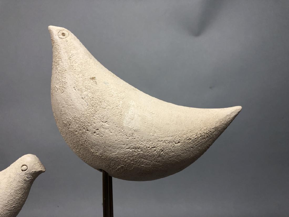 Pr Pottery Bird Sculptures on Modern Brass Stands - 4