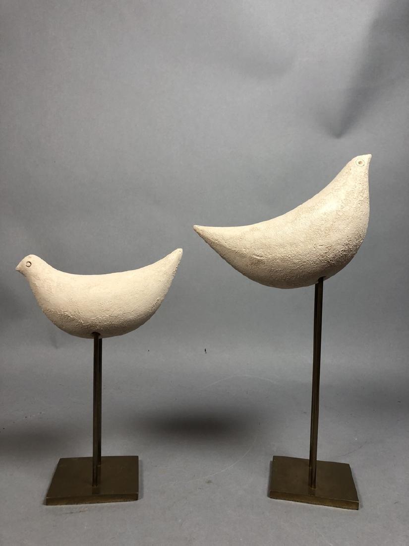 Pr Pottery Bird Sculptures on Modern Brass Stands - 5