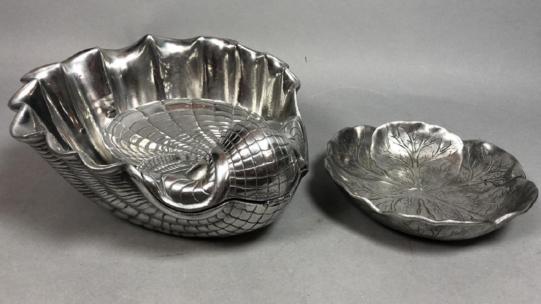 2pc ARTHUR COURT Pewter Serving Bowls. Large scal