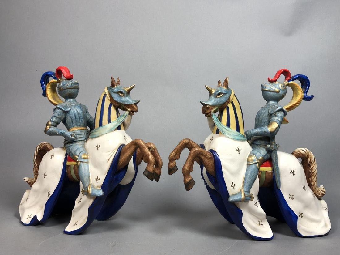 Pr Continental Ceramic Figural Sculptures Knights