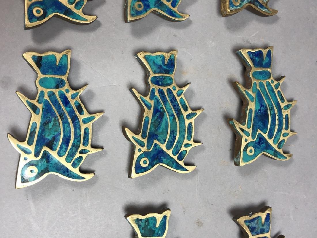 Set 8 PEPE MENDOZA Brass & Inlay Fish Pulls. Figu - 3