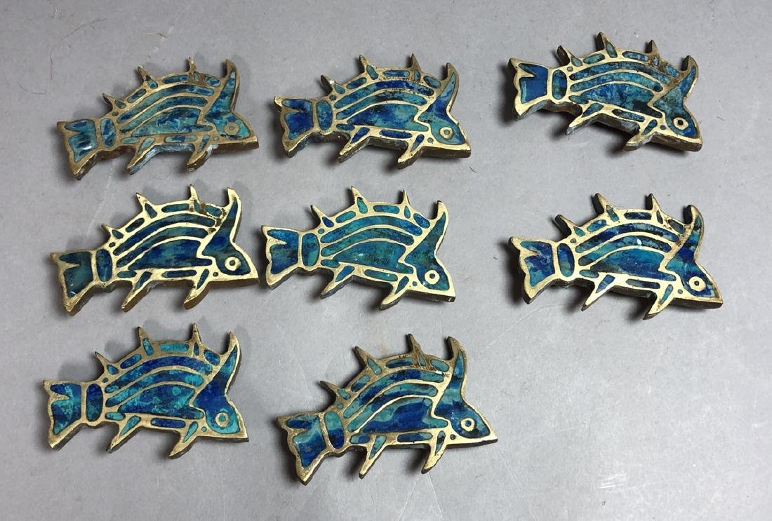 Set 8 PEPE MENDOZA Brass & Inlay Fish Pulls. Figu