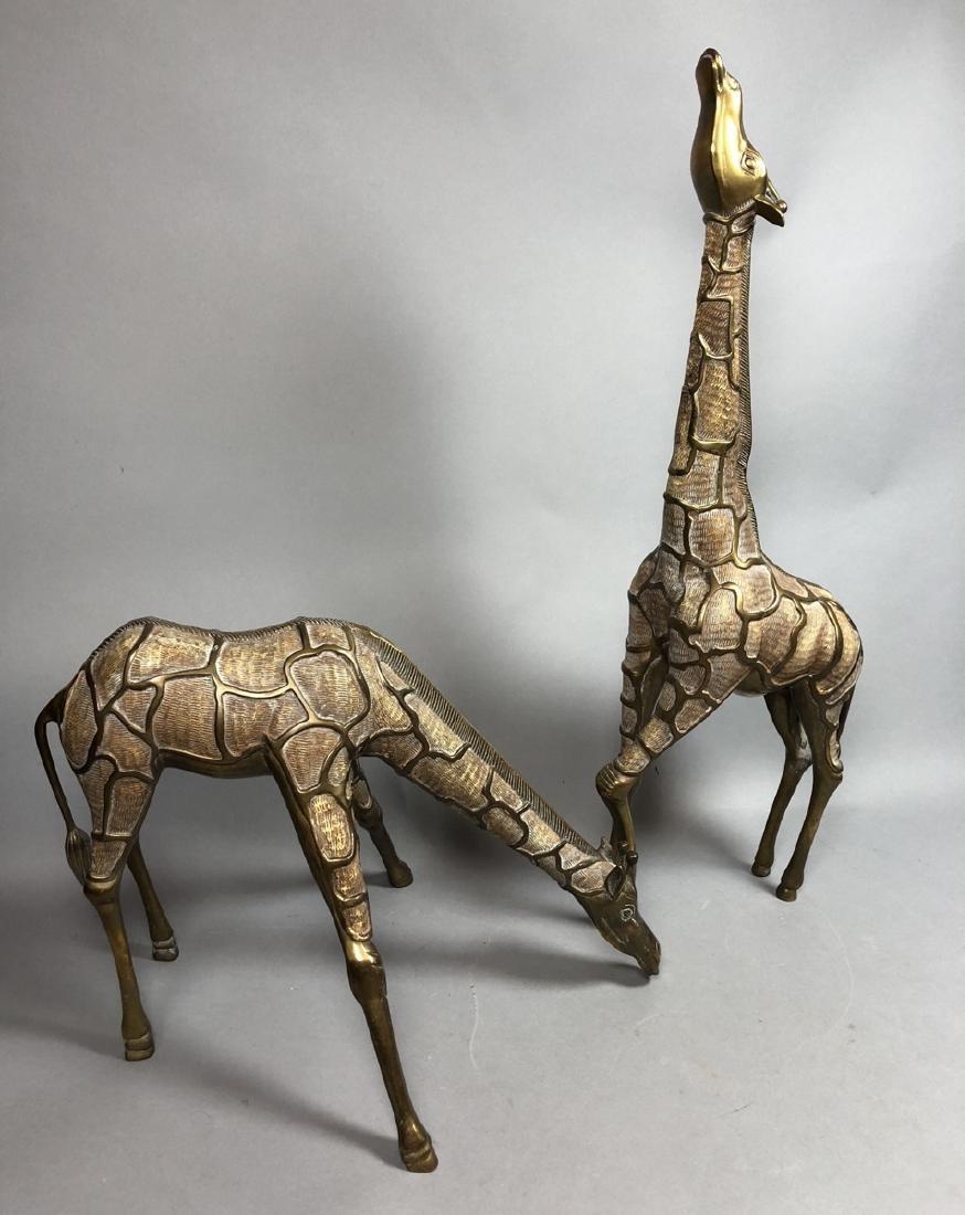 Pr Modernist Heavy Brass Figural Giraffes. Detail