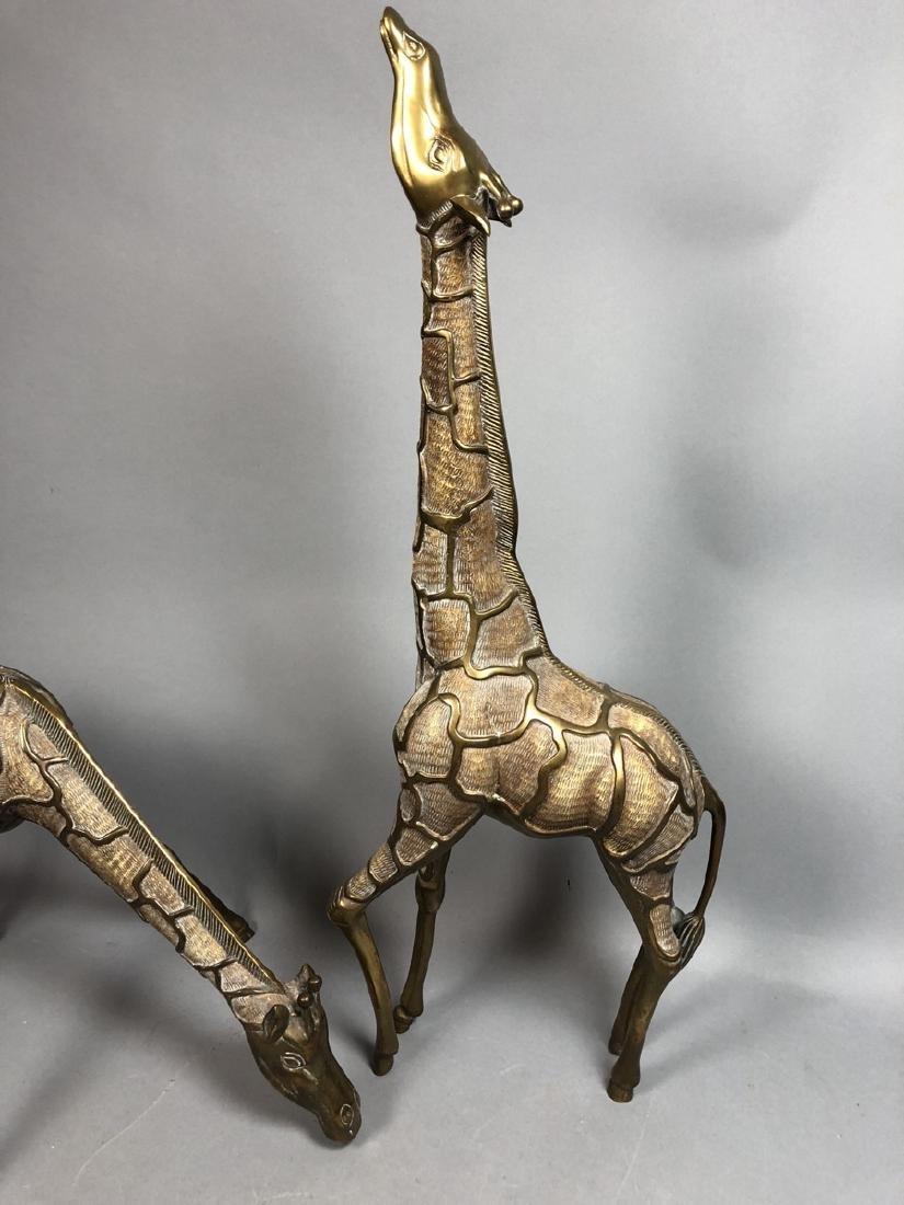 Pr Modernist Heavy Brass Figural Giraffes. Detail - 2