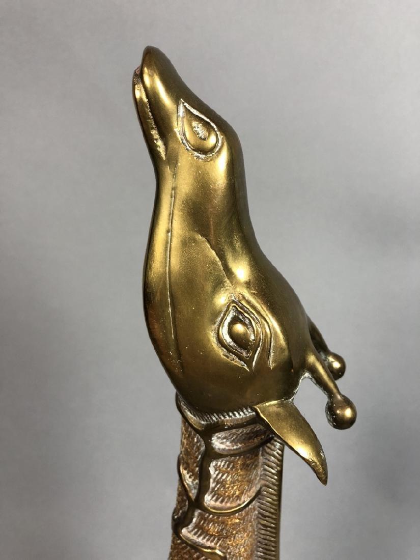 Pr Modernist Heavy Brass Figural Giraffes. Detail - 4