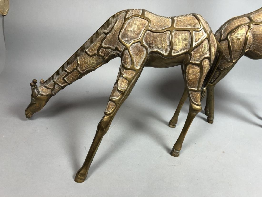 Pr Modernist Heavy Brass Figural Giraffes. Detail - 6