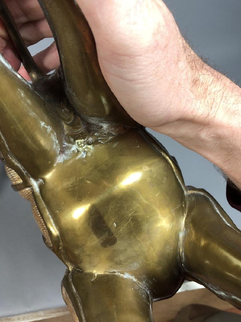 Pr Modernist Heavy Brass Figural Giraffes. Detail - 8