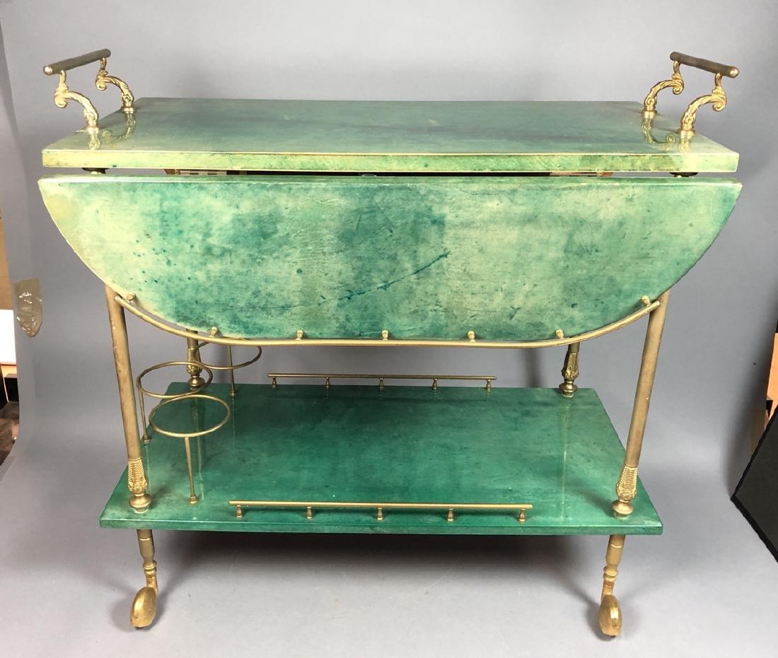 ALDO TURA Green Lacquered Goatskin Bar Cart. Ital