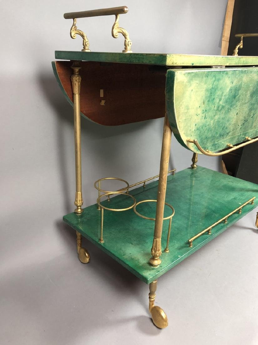 ALDO TURA Green Lacquered Goatskin Bar Cart. Ital - 2
